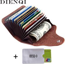 DIENQI retro genuine leather money clips wallet cardholder dollar money holder designer new men money bag purse 2020 fermasoldi