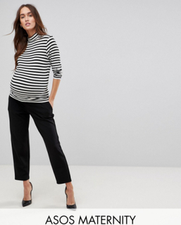 ASOS DESIGN Maternity under the bump pull on tapered black trousers in jersey crepe