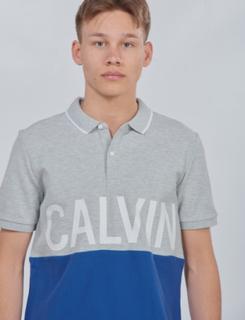 Calvin Klein, PIQUE CALVIN CHEST REGULAR POLO, Grå, Polo/Rugbytrøjer till Dreng, 16 år