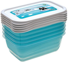 """Zestaw 5 pojemników prostokątnych na żywność - Mia """"Polar"""" - 0,5 litra - lodowy niebieski"""