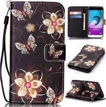 Samsung Galaxy J3 (2016) etui av lær m. kortholdere - Blomster og sommerfugler