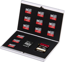 Kotelo muistikorteille metallia 14 lokeroa - SD / Micro-SD / MiniSD