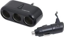 LogiLink Cigarette Lighter Adapter Splitter 3-port
