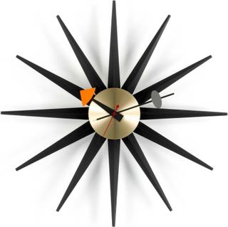 Sunburst Clock, Black/brass