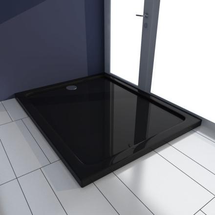 vidaXL Rektangulær ABS Dusjplate/bunn svart 80 x 100 cm