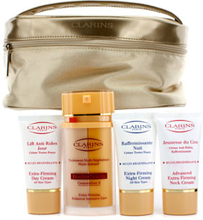 Clarins Firming Age-Control Booster Set: Double Serum 2x15ml + Day Cream 15ml + Night Cream 15ml + Neck Cream 15ml + Bag