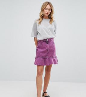 Monki Acid Wash Ruffle Denim Skirt-Pink