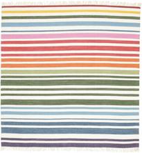 Rainbow Stripe - Vit matta 200x200 Modern, Kvadratisk Matta