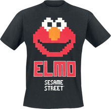 Sesam Stasjon - Elmo 8 Bit -T-skjorte - svart
