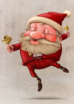 Santa Claus and the bell's dancing