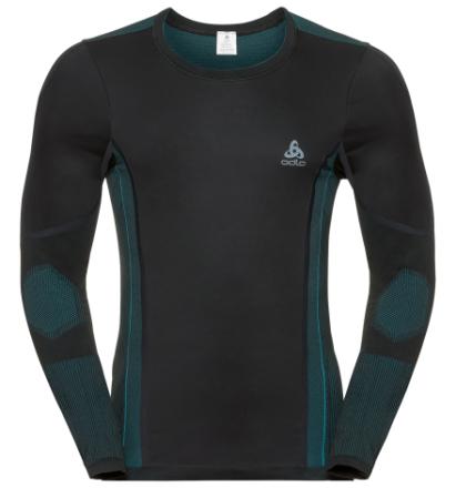 Odlo Shirt L/S CN Performance Windshield XC-Skiing Light Black - Lake Blue Herr - Utförsäljning