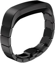 Solid Link Rustfritt Stål Sommerfugl Klokkereim For Fitbit Alta - Svart