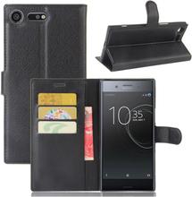 Sony Xperia Xz Premium Litchi Skinn Tekstur PU Lær Flip Etui - Svart