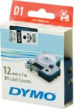 DYMO D1 merkkausteippi 12mm valkoinen/musta teksti 7m