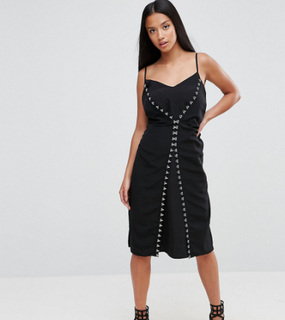 ASOS PETITE Hook & Eye Detail Slip midi dress-Black