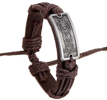 """Läderarmband """"Viking"""" med rem- och metalldetaljer"""