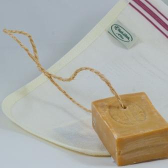 Relaxset från Olivkällan -Grekisk tvål av lagerbladsolja med rep 170 gr och en Hamam Badhandske