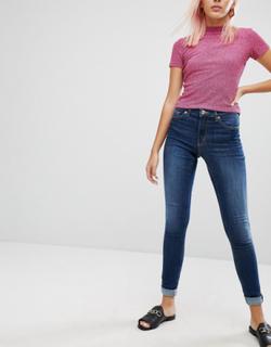 Monki Mocki mid waist slim jeans with organic cotton in mid blue