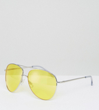 ASOS Metal Aviator Sunglasses In Silver With Yello