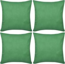 vidaXL 4 Kuddöverdrag i bomull gröna 40 x 40 cm
