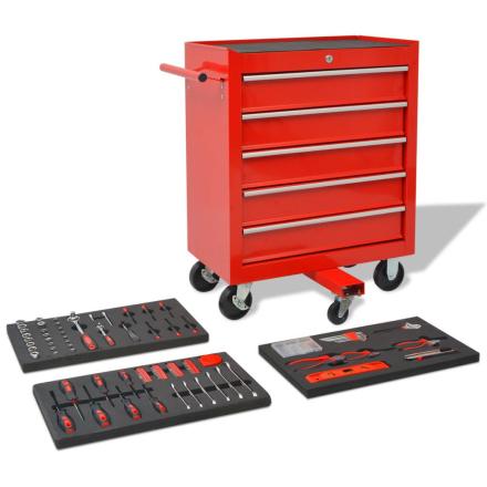vidaXL værktøjsvogn med 269 stykker værktøj stål rød