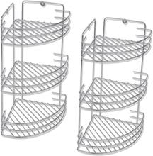 vidaXL Duschhylla med tre våningar för hörn 2 st metall