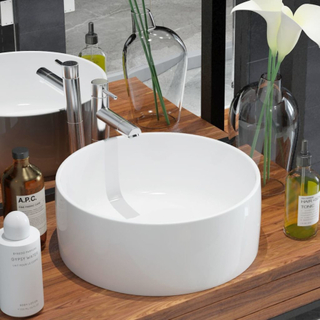 vidaXL håndvask rund keramik 40 x 15 cm hvid