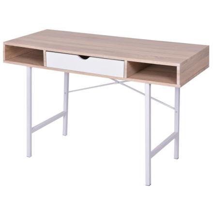 vidaXL Skrivbord med 1 låda ek och vit