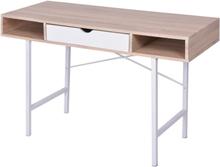 vidaXL Skrivebord med 1 skuff eik og hvit