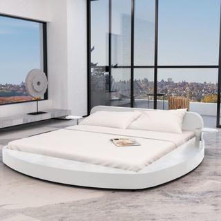 vidaXL Säng med madrass 180 x 200 cm konstläder rund vit