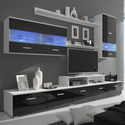 vidaXL TV-bänk med LED 7 delar 250 cm svart högglans