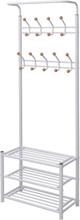 vidaXL Kapphängare med skohylla 68x32x182,5 cm vit
