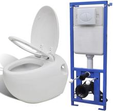 vidaXL Vägghängd äggformad toalett med dold cistern vit