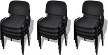 vidaXL stabelstole til kontor 12 stk. sort stof