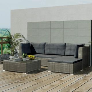 vidaXL Loungegrupp för trädgården 14 delar konstrotting grå