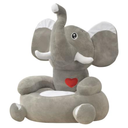 vidaXL Plysjbarnestol elefant grå