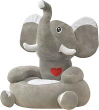 vidaXL Barnstol i plysch elefant grå