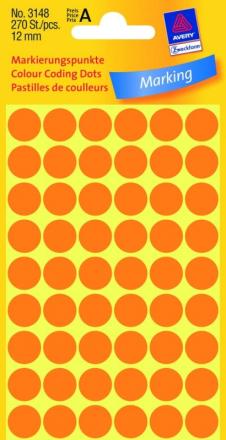 Etiket Avery neon orange Ø12mm 3148 270stk/pak