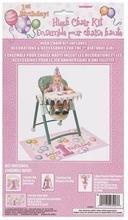 Första födelsedagen rosa barnstol dekorations kit