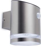 SMARTWARES Soldriven vägglampa med PIR-sensor silv
