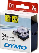 DYMO D1 merkkausteippi 24mm nylon keltainen/musta teksti 7m