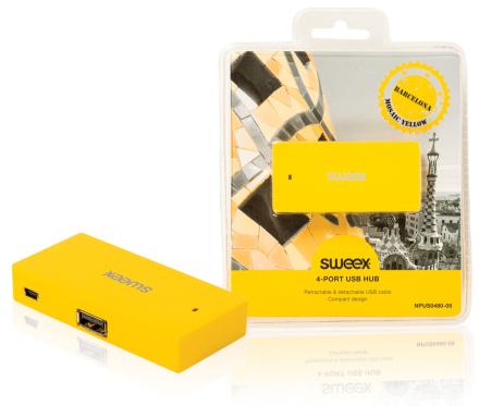 4-porttinen USB-jakaja Barcelona keltainen