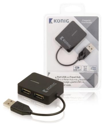 Mukaan otettava 4-porttinen USB 2.0 -jakaja