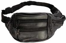 Bæltetaske i sort imiteret læder - Mavetaske med 7 rum.
