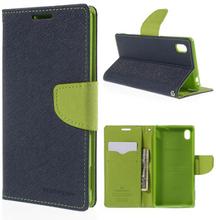 Mercury Sony Xperia M4 Aqua Lær Etui Med Lommebok - Blå / Grønn