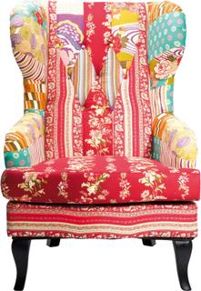 KARE DESIGN Patchwork hvilestol - rød multifarvet stof, m. armlæn