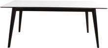 Hvidt spisebord 195/285 cm med 2 stk tillægsplader (Ekstra slidstærk bordplade)