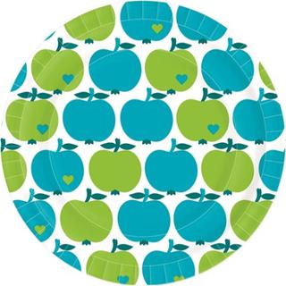 Duni Papirtallerken Flat 22 cm Graziela Apple Green & Blue Duni