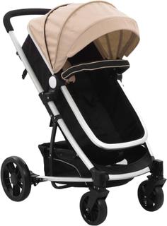 vidaXL 2-i-1 klapvogn/barnevogn aluminium gråbrun og sort