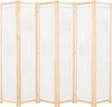 vidaXL Rumsavdelare 6 paneler 240x170x4 cm gräddvit tyg